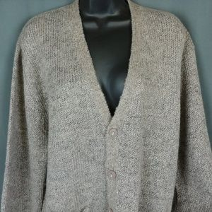 Vtg Gray Cardigan Sweater XL 80s Retro